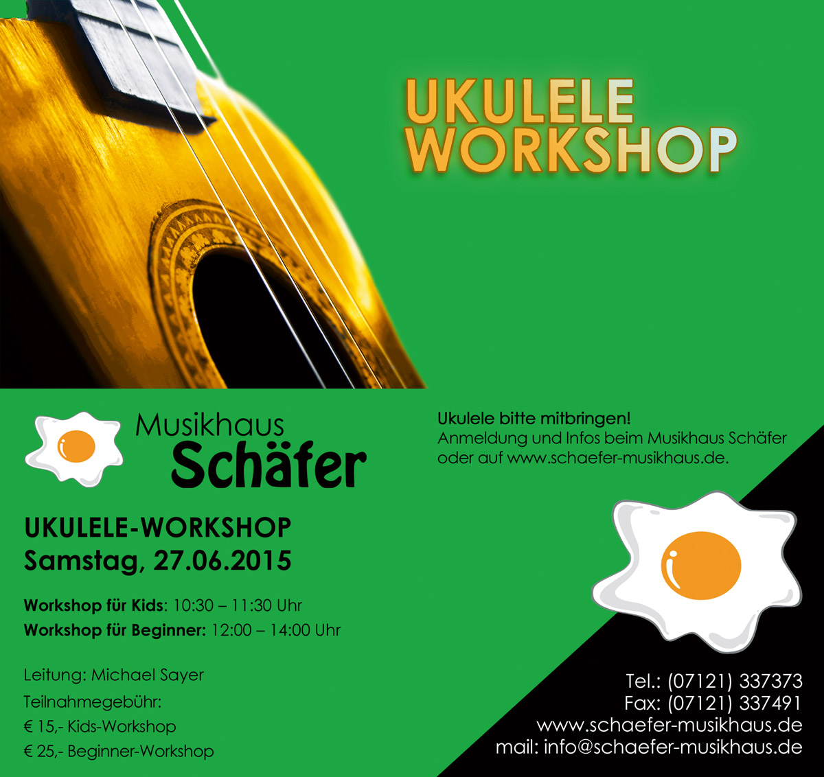 Flyer des Ukulele-Workshops 2015