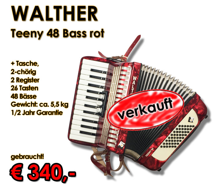 WALTHER Akkordeon Teeny 48-Bass rot