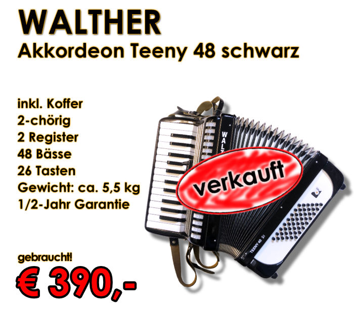 WALTHER Akkordeon Teeny 48-Bass schwarz