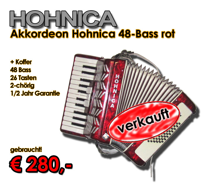 HOHNICA Akkordeon 48-Bass rot
